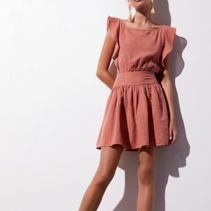 Free People Erin Mini Dress Orange Linen Blend